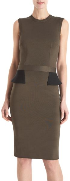 Givenchy Peplum Back Dress in Green - Lyst