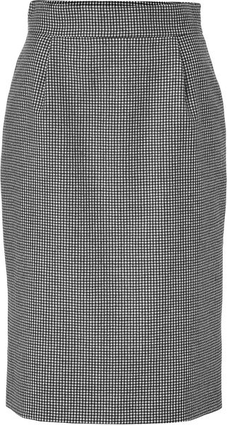 Jil Sander Black and White Houndstooth Check Pencil Skirt - Lyst