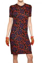 Kenzo Printed Flowers Wool Knit Dress - Lyst