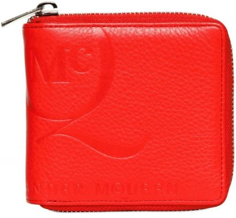 Mcq By Alexander Mcqueen Leather Zip Around Wallet in Red for Men - Lyst