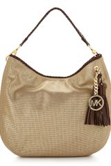 Michael by Michael Kors Metallic Canvas Shoulder Bag - Lyst