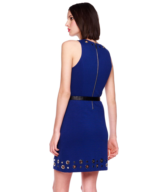 michael kors belted grommet dress in blue sapphire lyst