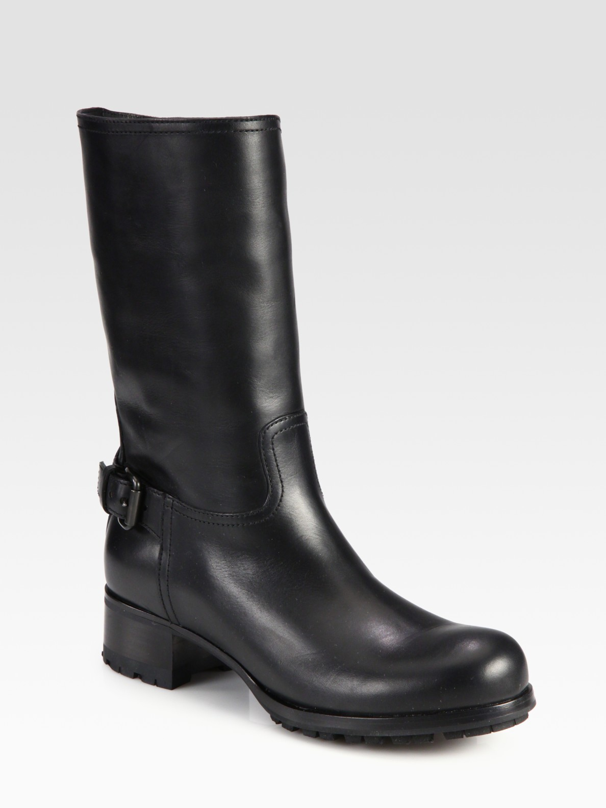 prada leather buckle boots in black lyst