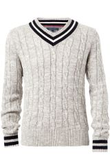 Tommy Hilfiger Oliver Cricket Vneck Sweater in Gray for Men (grey) - Lyst