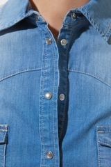 Zara Medium Blue Denim Shirt in Blue - Lyst