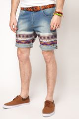 Asos Brand Skinny Denim Short with Aztec Print - Lyst