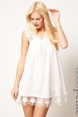 ASOS Collection Asos Petite Exclusive Cutwork Cotton Mini Dress - Lyst