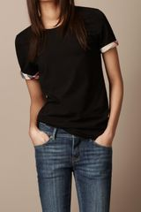 Burberry Check Cuff T-shirt - Lyst