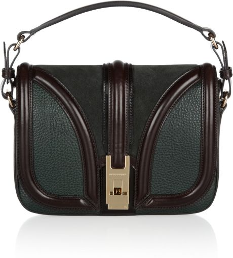 Burberry Texturedleather and Suede Shoulder Bag in Green (forest)