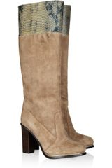 Diane Von Furstenberg Shelly Suede and Pythoneffect Leather Knee Boots - Lyst