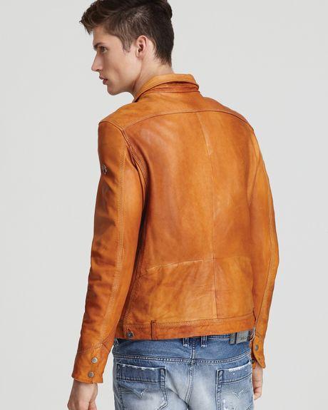 Diesel Laurence Leather Jacket In Brown For Men Burnt