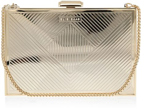 Elie Saab Gold Metallic Box Clutch Bag in Silver (gold) - Lyst