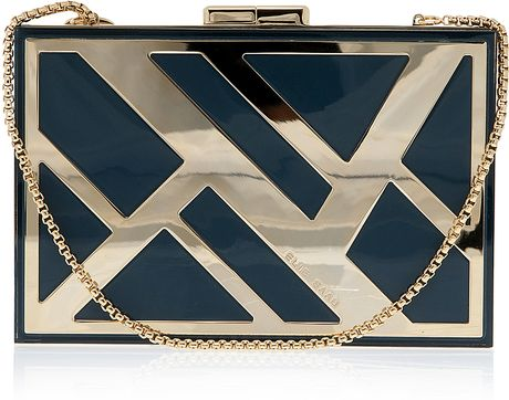 Elie Saab Rectangle Box Clutch Bag in Blue - Lyst