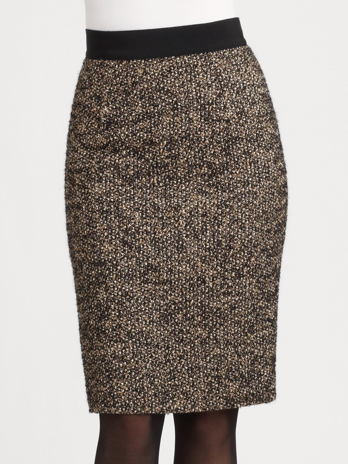 Giambattista valli Tweed Pencil Skirt in Brown | Lyst