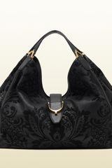 Gucci Soft Stirrup Black Brocade Leather Shoulder Bag - Lyst