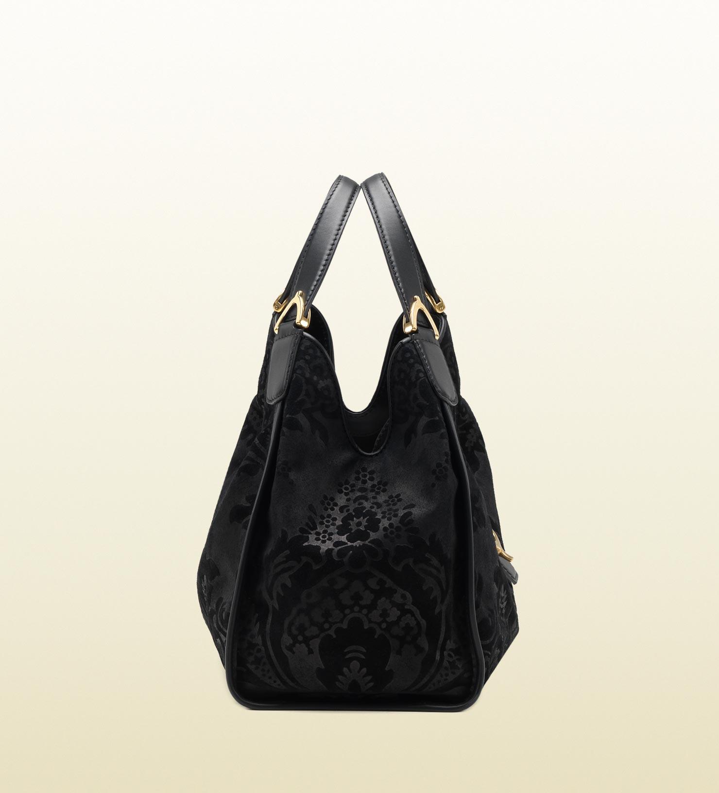 a5f4584067649 Lyst - Gucci Soft Stirrup Brocade Leather Shoulder Bag in Black