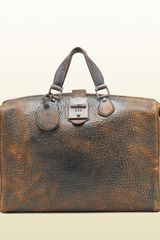 Gucci Goldmark Grainy Leather Duffle Bag - Lyst