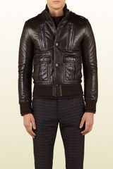 Gucci Leather Biker Jacket with Shearling Collar - Lyst