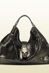 Gucci Soft Stirrup Military Green Python Shoulder Bag - Lyst