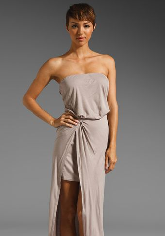 Halston Heritage Strapless Mercerized Rayon Interlock Dress - Lyst