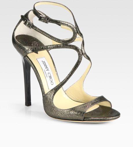 ec260f4ef1 Jimmy Choo Lance Metallic Leather Sandals in Gray (gunmetal)   Lyst