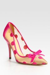 Kate Spade Polka Dot Patent Leather Mesh and Velour Point Toe Pumps in Pink - Lyst
