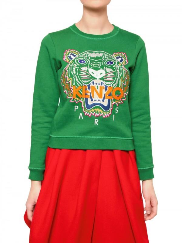 Lyst - KENZO Tiger Cotton Fleece Sweatshirt in Green d51295d0ed