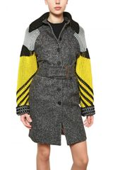 Kenzo Wool Felt Coat with Knitted Sleeves