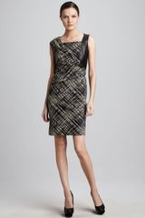 Lafayette 148 New York Vania Leather panel Dress - Lyst