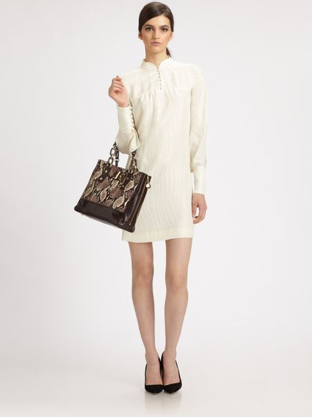 Milly Avrila Silk Jacquard Dress in White (chocolate) - Lyst