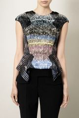 Peter Pilotto Tigerprint Peplum Top - Lyst