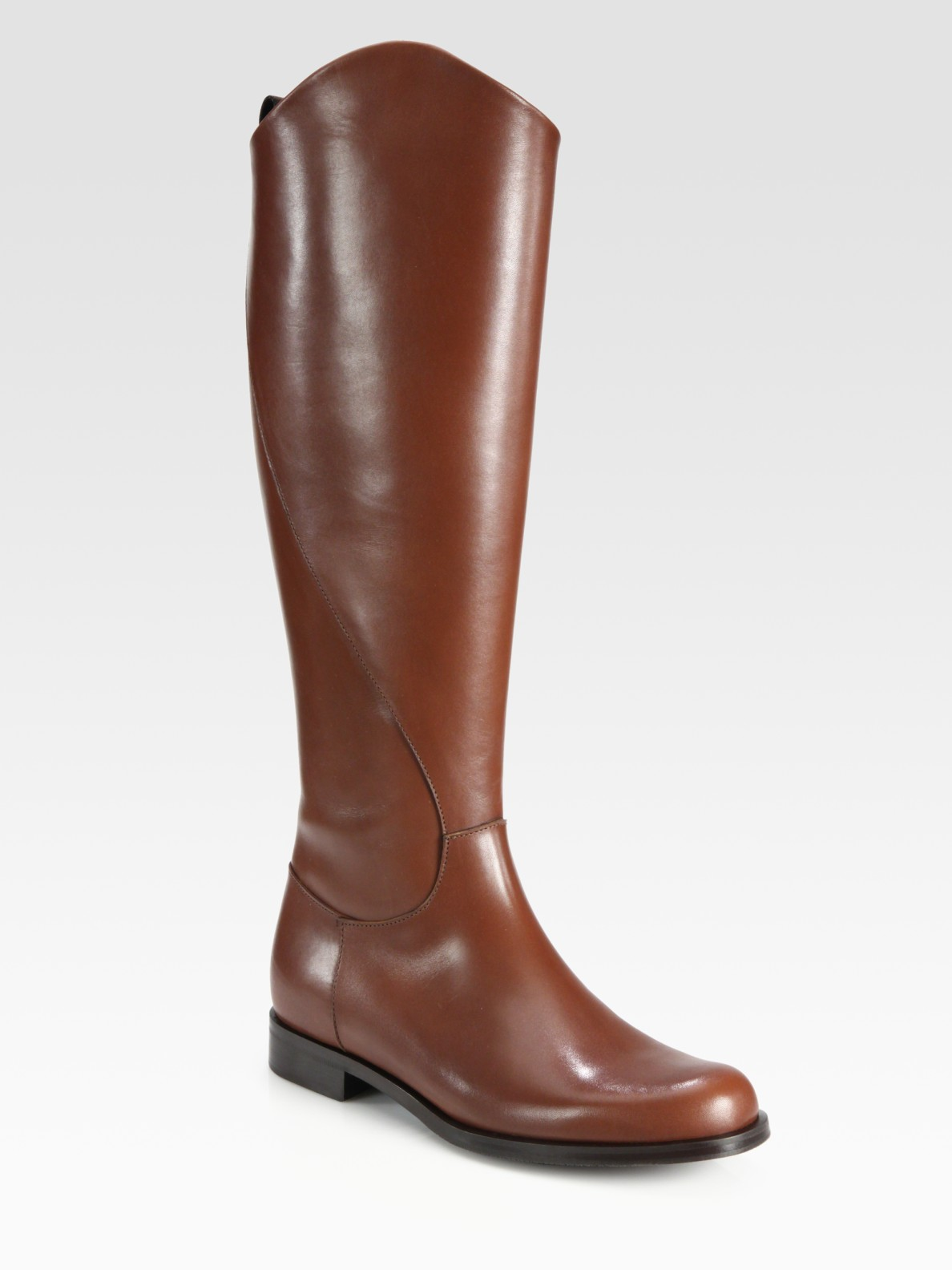 pollini leather flat knee high boots in brown lyst