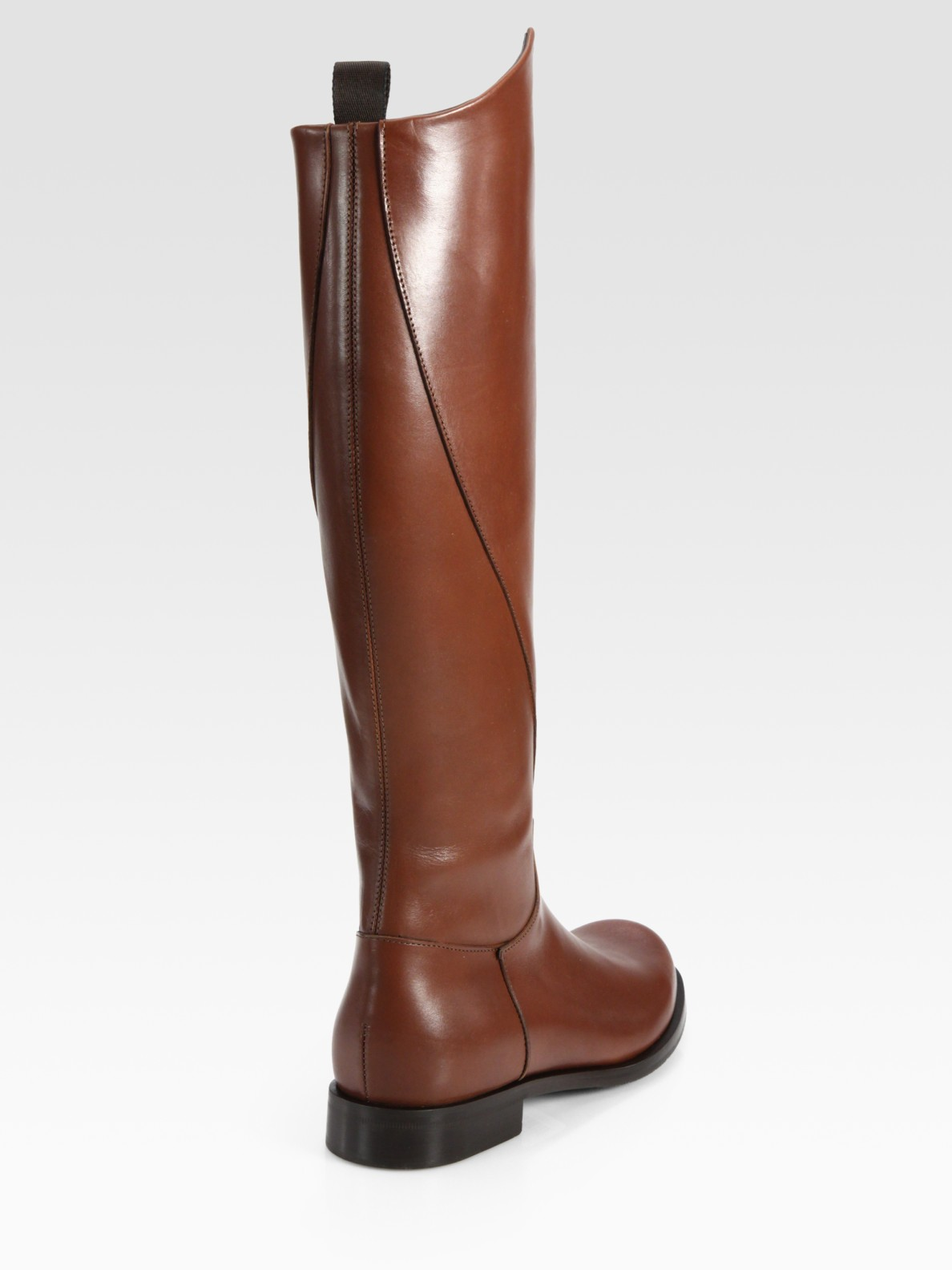 Pollini Leather Flat Knee High Riding Boots in Brown | Lyst