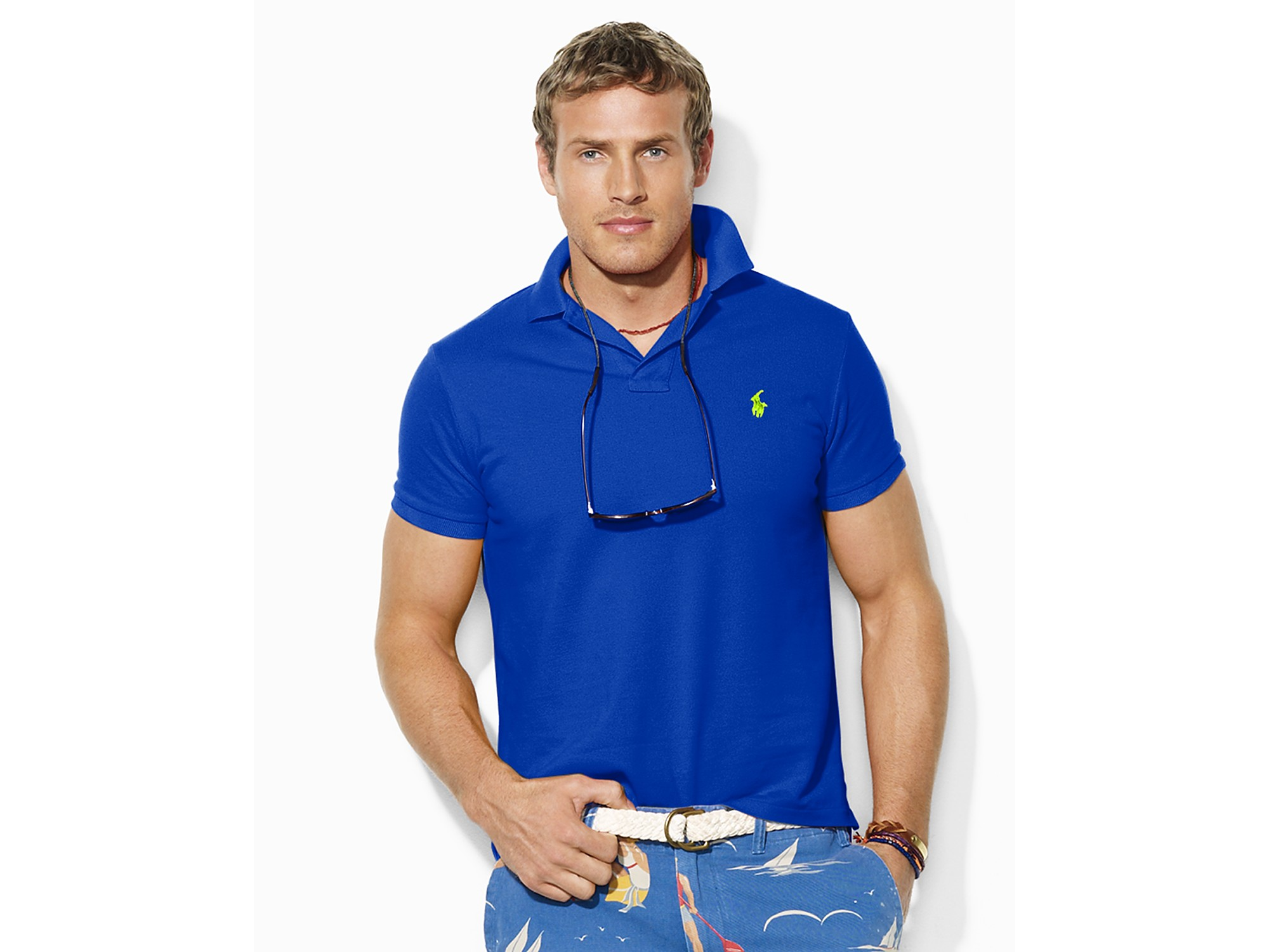 Polo ralph lauren Classic Fit Short Sleeved Cotton Mesh Polo in Blue for Men (elite