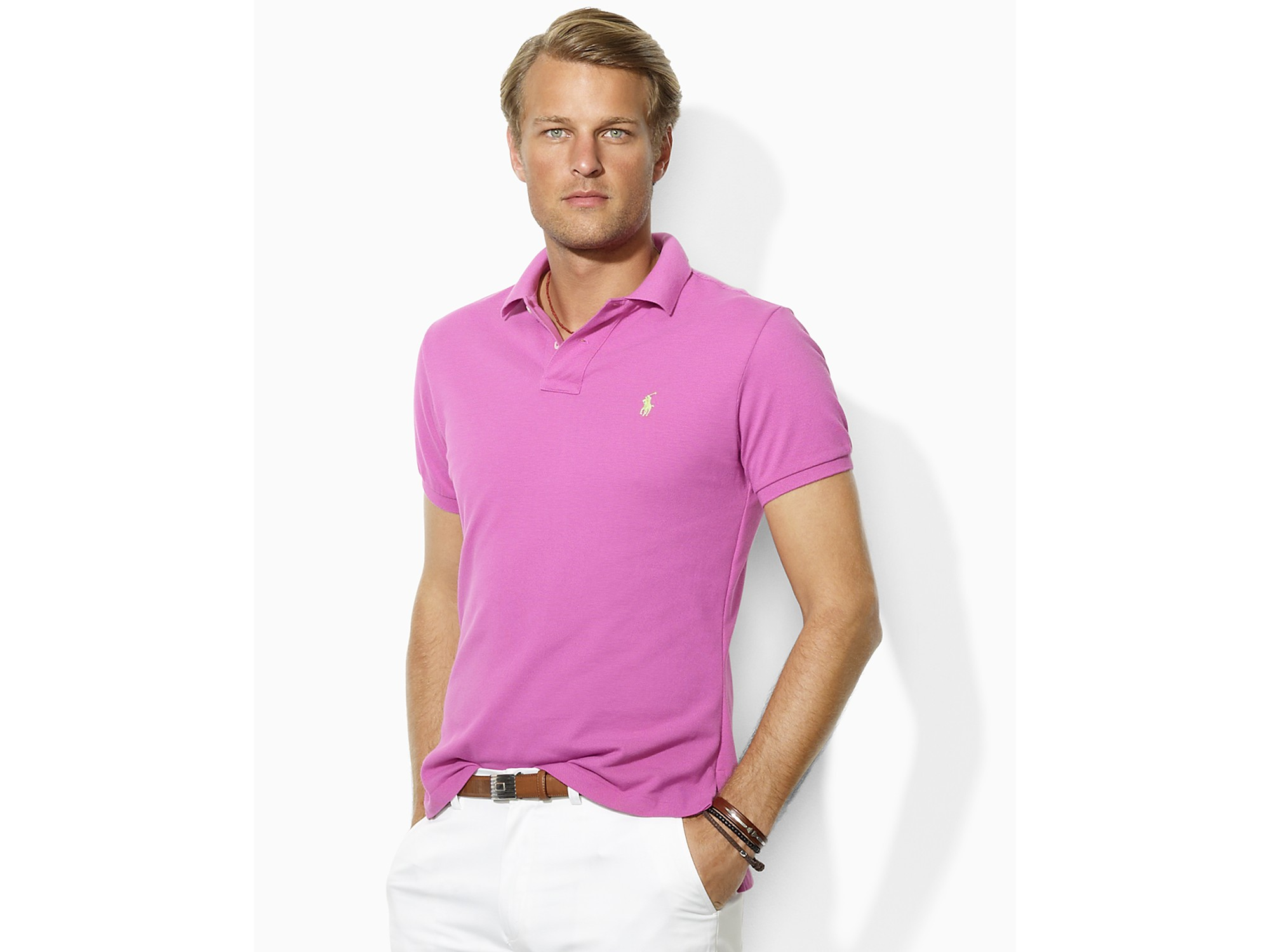 Polo Ralph Lauren Pink Green Breathable Short Sleeved .