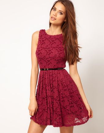 Tfnc Skater Dress in Lace - Lyst