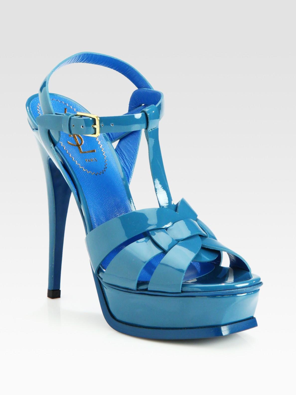 d23531ffc2f Saint Laurent Patent Leather Platform Sandals in Blue - Lyst