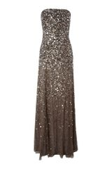 Adrianna Papell Strapless Beaded Long Dress