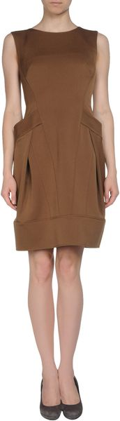Alberta Ferretti Short Dress in Brown - Lyst