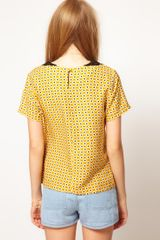 Asos Collection Asos Top With Daisy Print And Crochet Collar in Yellow (multi) - Lyst