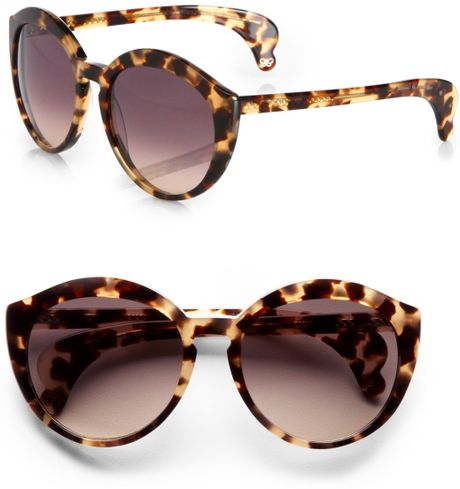 Bottega Veneta Catseye Acetate Sunglasses in Brown (havana) - Lyst