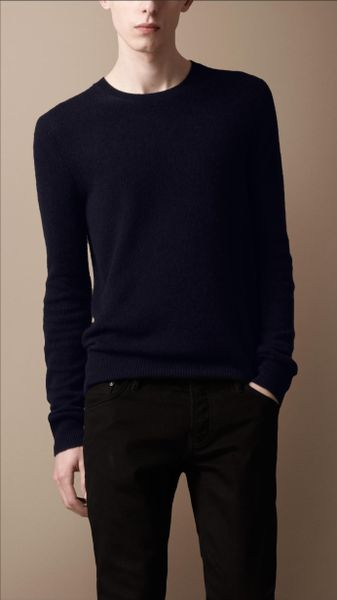Burberry Brit Crew Neck Cashmere Sweater in Blue for Men (ink) - Lyst