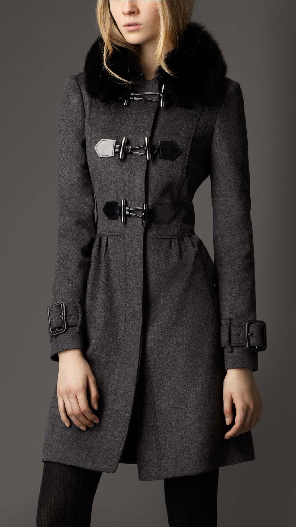 Burberry Fur Collar Wool Cashmere Duffle Coat in Gray | Lyst