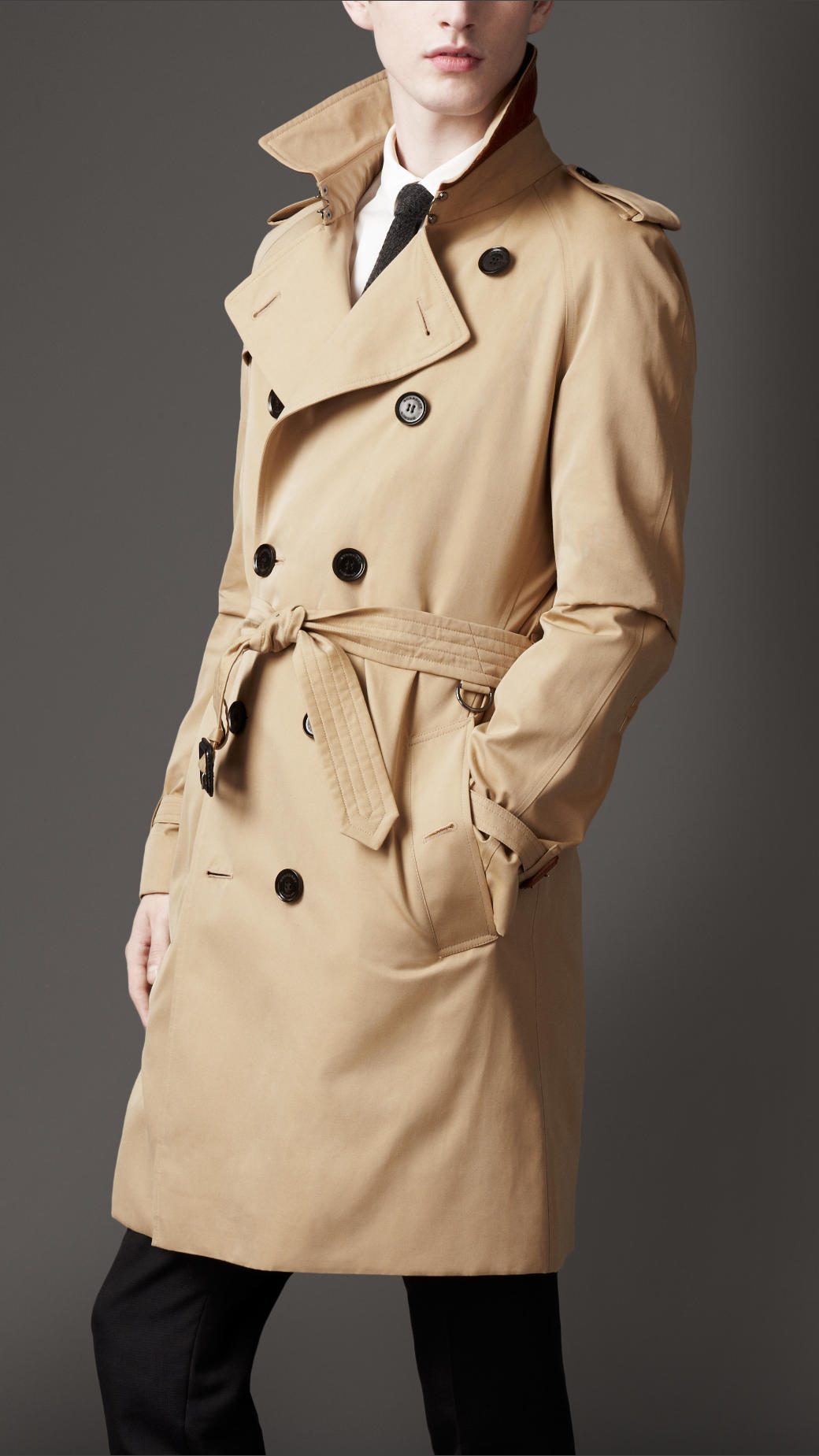 burberry mid length cotton garbardine trench coat in. Black Bedroom Furniture Sets. Home Design Ideas