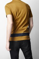 Burberry Sport Graduated Stripe Cotton Tshirt in Blue for Men (bright gold ochre) - Lyst