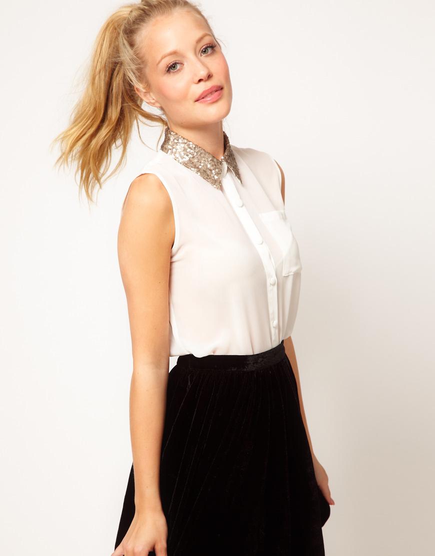 Glamorous Sequin Collar Sleeveless Shirt In White