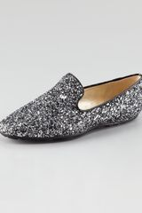 Jimmy Choo Wheel Glittered Smoking Slipper - Lyst