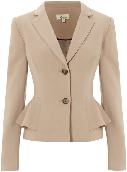 Linea Peplum Jacket in Beige (natural) - Lyst