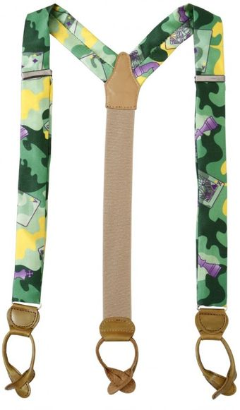 Manuel Vanni Camouflage Silk and Leather Suspenders - Lyst