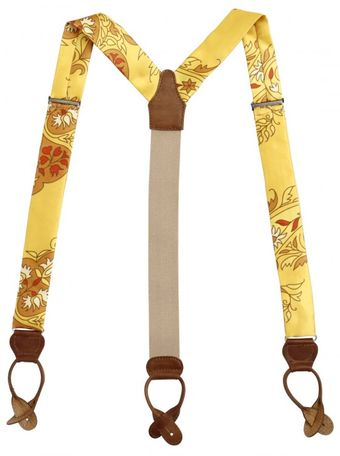 Manuel Vanni Printed Silk and Leather Suspenders - Lyst